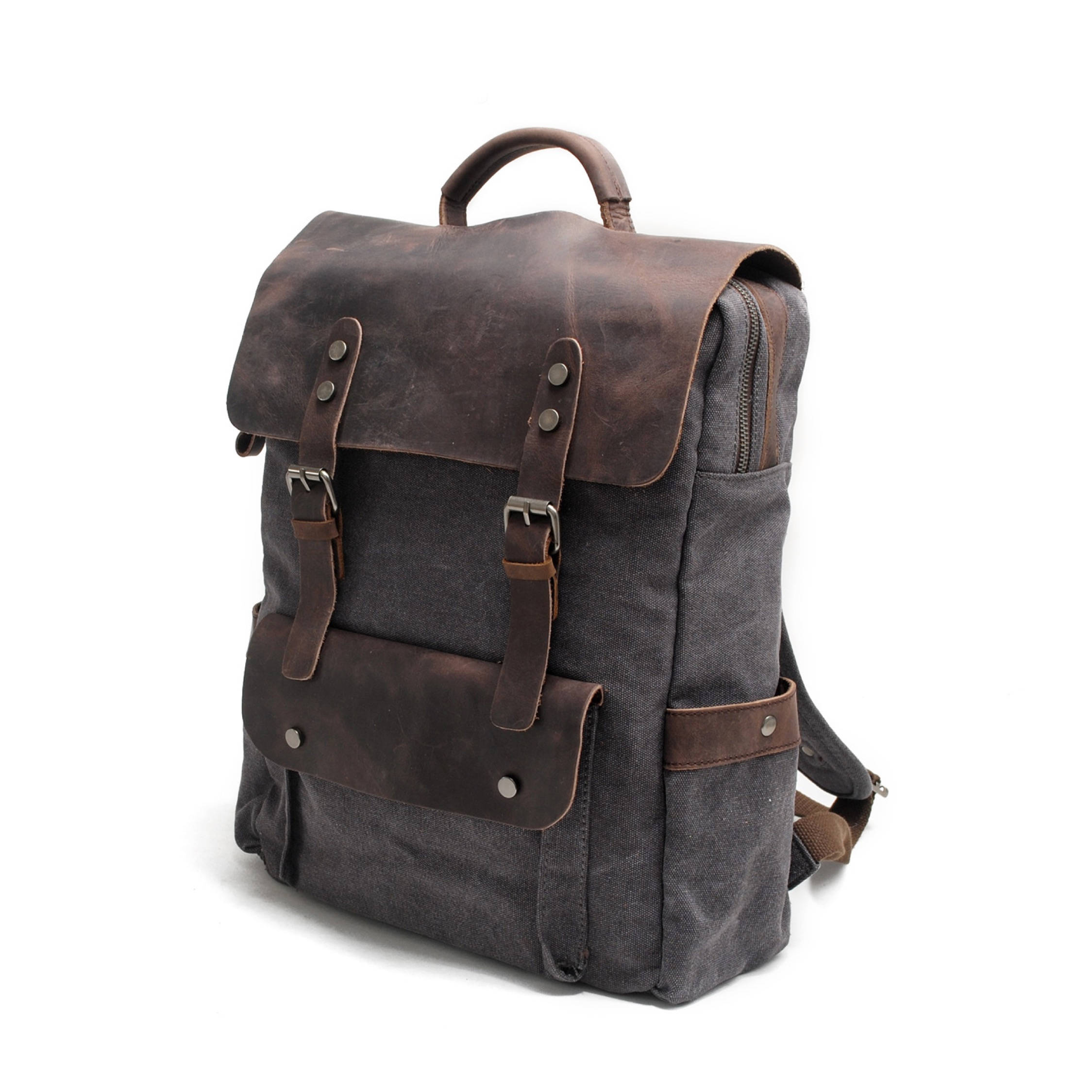 Hudson Canvas Backpack Grey The Leather Goods Co